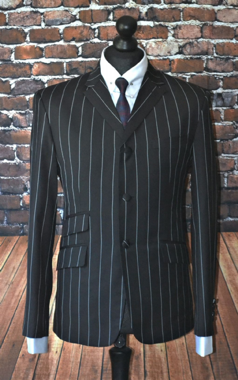 """Oliver"" Black & Grey 3 Piece Pinstripe Suit"